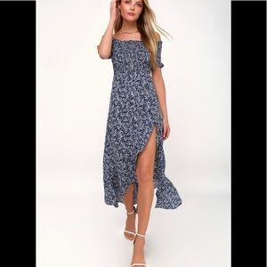 LULUs navy blue floral midi dress